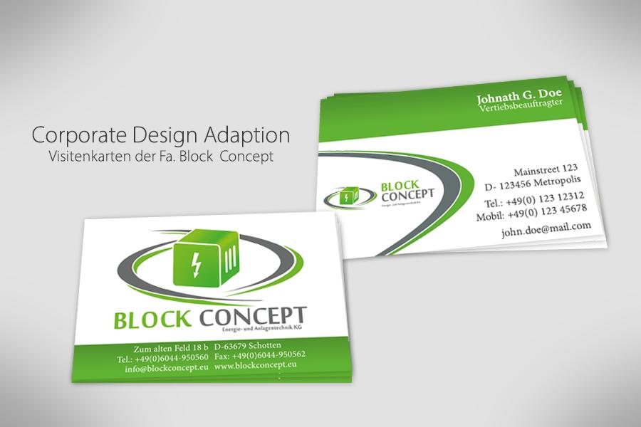 Visitenkarten für die Mitarbeiter der Fa. Block Concept